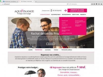 Refonte du site Aquifinance Navigation sur la page d'accueil