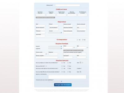 Refonte du site Aquifinance Navigation sur la page formulaire demande en ligne de rachat de crédit